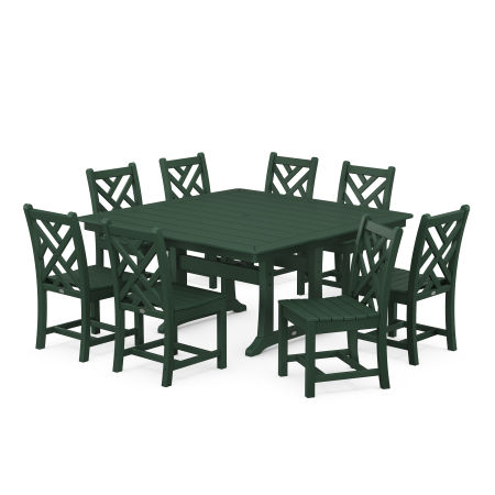 Chippendale 9-Piece Farmhouse Trestle Dining Set in Green
