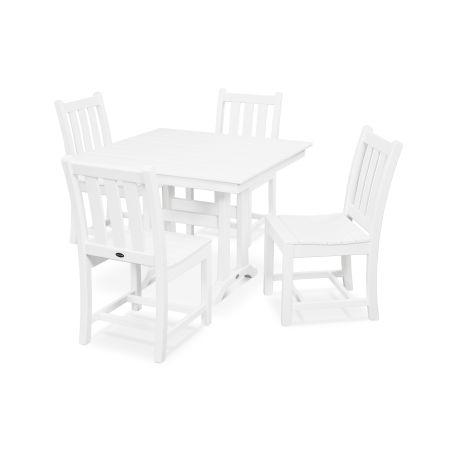 Traditional Garden 5-Piece Farmhouse Dining Set in White