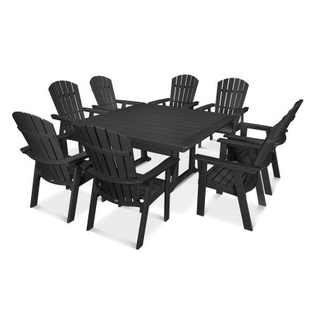 Nautical Adirondack 9-Piece Trestle Dining Set in Black