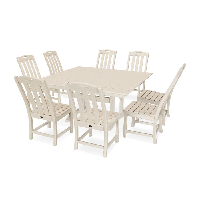 Yacht Club 9-Piece Farmhouse Trestle Side Chair Dining Set