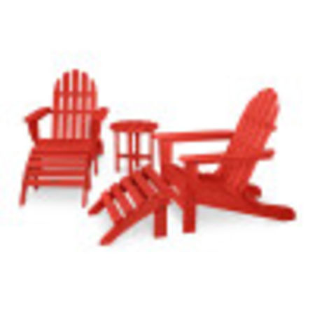 Classic Adirondack 5-Piece Casual Set in Sunset Red