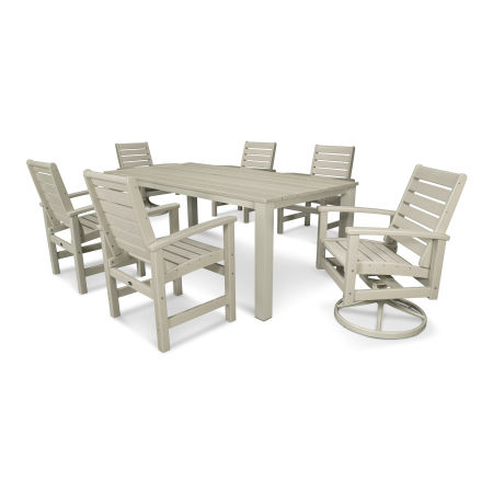 Signature 7-Piece Harvest Swivel Dining Set in Satin Tan / Sand