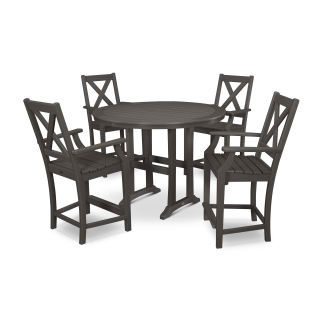 Braxton 5-Piece Nautical Trestle Arm Chair Counter Set in Vintage Finish