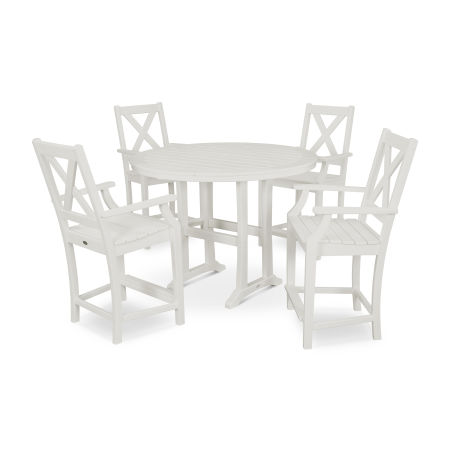 Braxton 5-Piece Nautical Trestle Arm Chair Counter Set in Vintage White