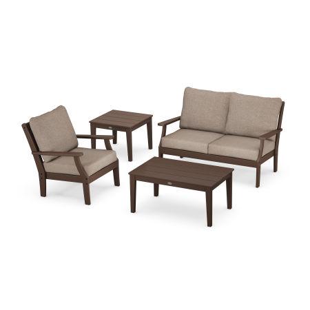 Braxton 4-Piece Deep Seating Set in Mahogany / Spiced Burlap