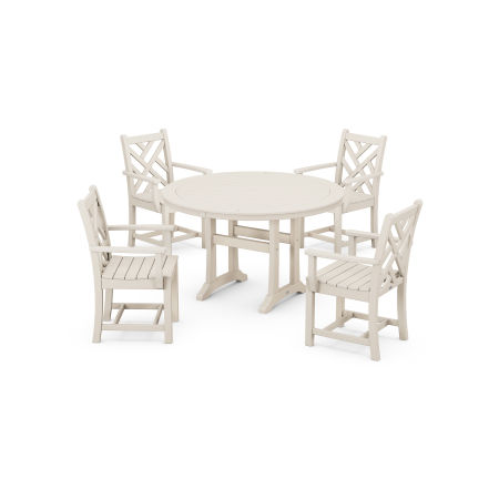Chippendale 5-Piece Nautical Trestle Dining Arm Chair Set in Sand
