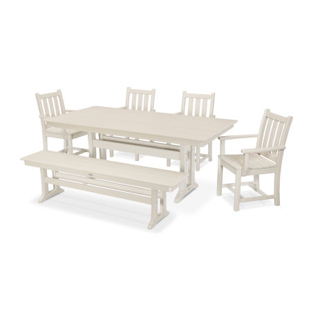 Traditional Garden 6-Piece Farmhouse Dining Set with Bench in Sand