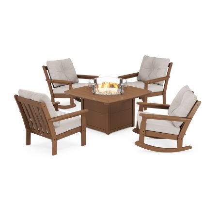 Vineyard 5-Piece Deep Seating Rocking Chair Conversation Set with Fire Pit Table in Teak / Dune Burlap