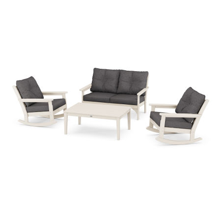 Vineyard 4-Piece Deep Seating Rocking Chair Set in Sand / Antler Charcoal