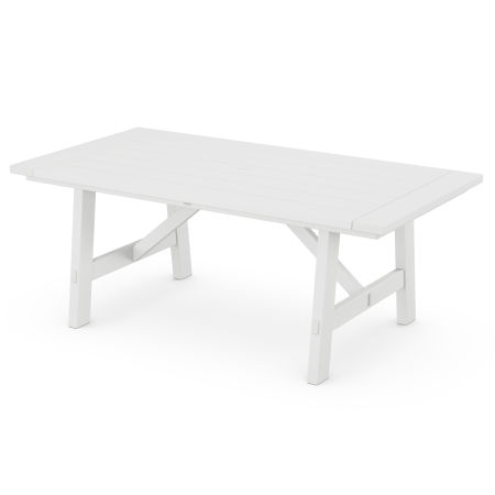 "Rustic Farmhouse 39"" x 75"" Dining Table in White"