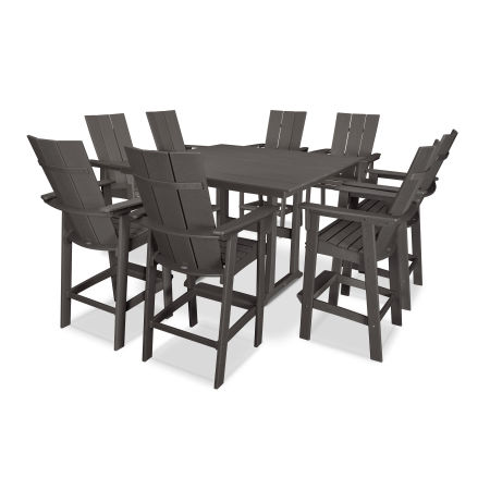 Modern Curveback Adirondack 9-Piece Farmhouse Trestle Bar Set in Vintage Finish
