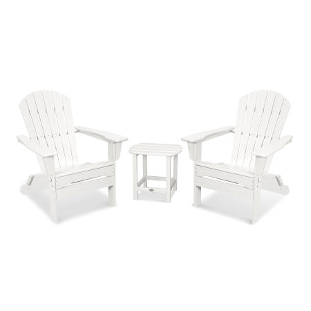 South Beach 3-Piece Folding Adirondack Set in White
