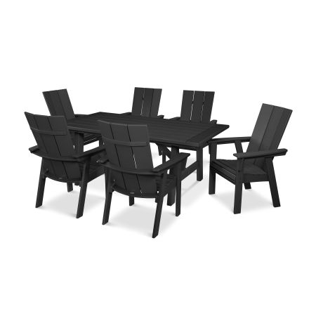 Modern Adirondack 7-Piece Rustic Farmhouse Dining Set in Black