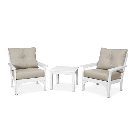 Vineyard 3-Piece Deep Seating Set in White / Cast Ash