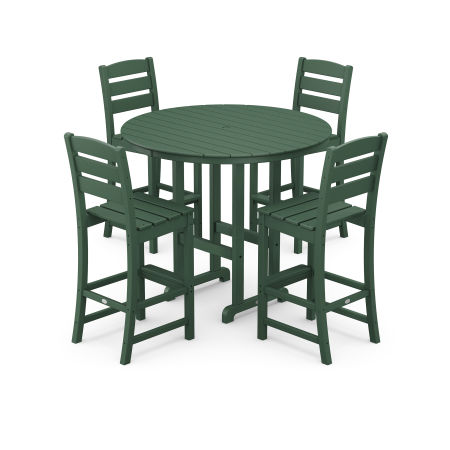 Lakeside 5-Piece Round Bar Side Chair Set in Green