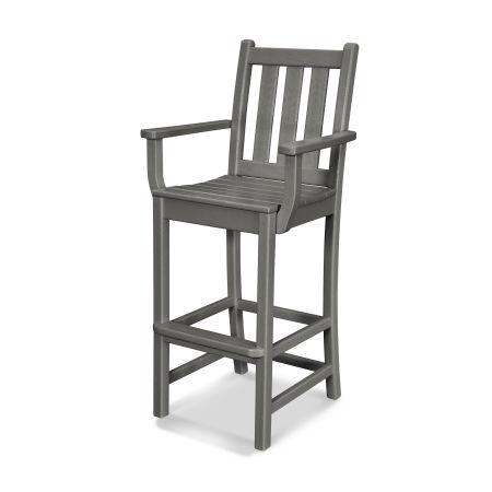 Traditional Garden Bar Arm Chair in Slate Grey
