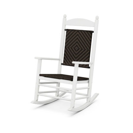 Jefferson Woven Rocking Chair in White Frame / Cahaba
