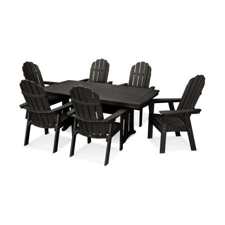 Vineyard Adirondack 7-Piece Nautical Trestle Dining Set in Black