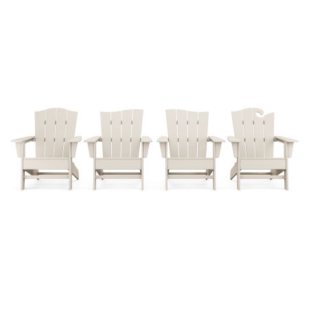 Wave Collection 4-Piece Adirondack Chair Set in Sand