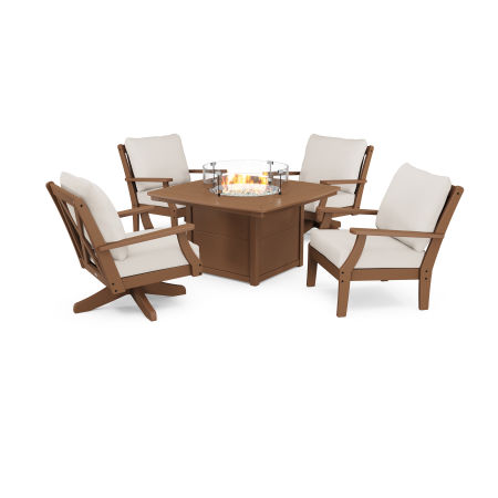 Braxton 5-Piece Deep Seating Set with Fire Table in Teak / Antique Beige