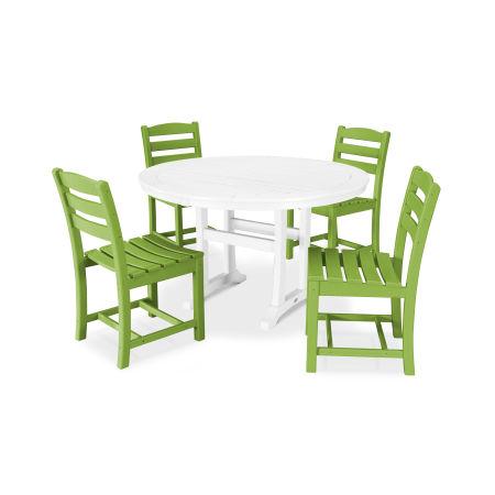 La Casa Café 5 Piece Side Chair Dining Set in Lime