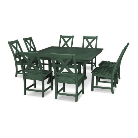 Braxton 9-Piece Nautical Trestle Dining Set in Green