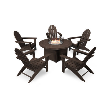 Vineyard Adirondack 6-Piece Chat Set with Fire Pit Table in Mahogany