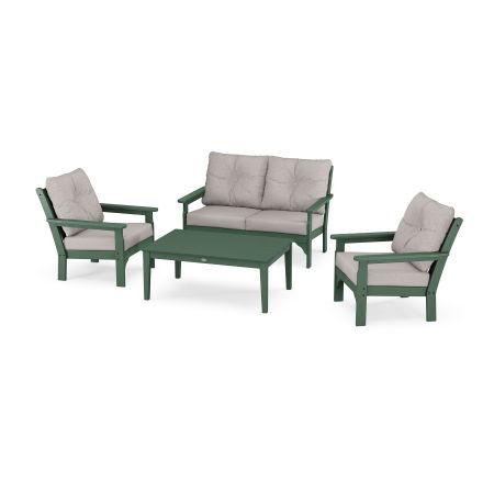 Vineyard 4-Piece Deep Seating Set in Green / Weathered Tweed