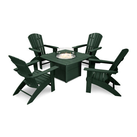 Nautical Curveback Adirondack 5-Piece Conversation Set with Fire Table in Green