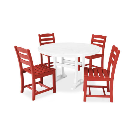 La Casa Café 5 Piece Side Chair Dining Set in Sunset Red