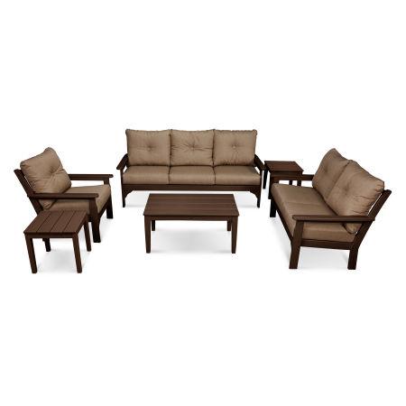 Vineyard 6-Piece Deep Seating Set in Mahogany / Sesame