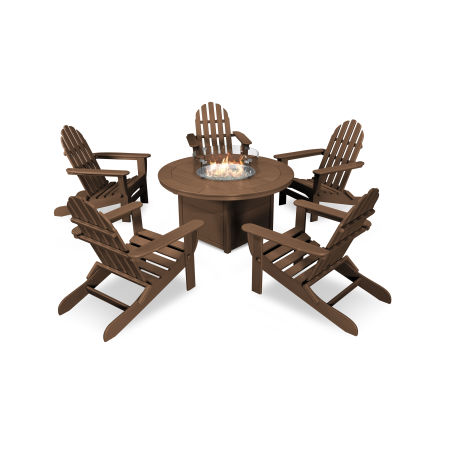Classic Folding Adirondack 6-Piece Conversation Set with Fire Pit Table in Teak