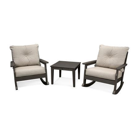 Vineyard 3-Piece Deep Seating Rocking Chair Set in Vintage Coffee / Cast Ash