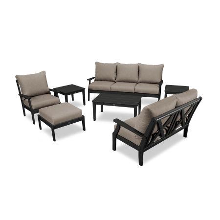 Braxton 7-Piece Deep Seating Set in Black / Sancy Shale