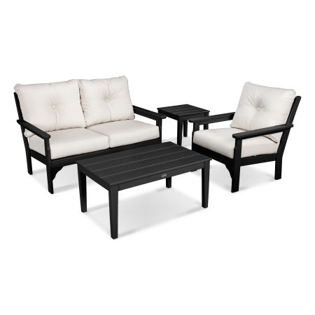 Vineyard 4 Piece Deep Seating Set in Black / Bird's Eye