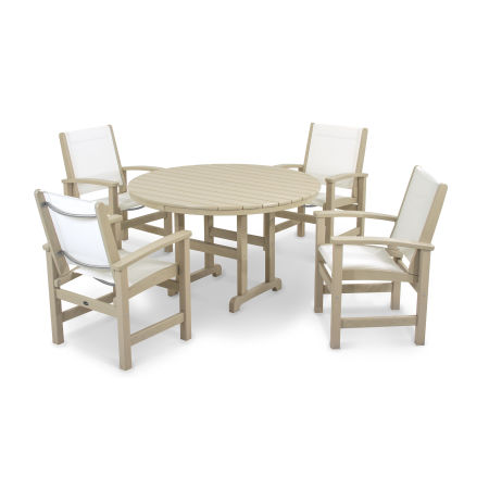 Coastal 5-Piece Dining Set in Sand / White Sling