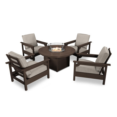 Club 5-Piece Chat Set in Mahogany / Cast Ash