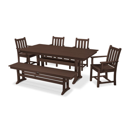 Traditional Garden 6-Piece Farmhouse Dining Set with Bench in Mahogany