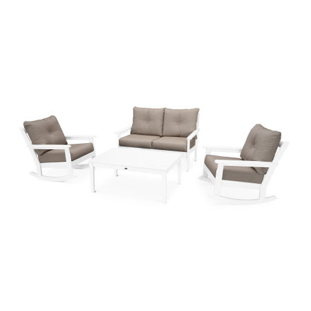 Vineyard 4-Piece Deep Seating Rocking Chair Set in White / Cast Ash