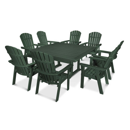 Nautical Adirondack 9-Piece Trestle Dining Set in Green