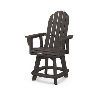 Vineyard Curveback Adirondack Swivel Counter Chair in Vintage Finish