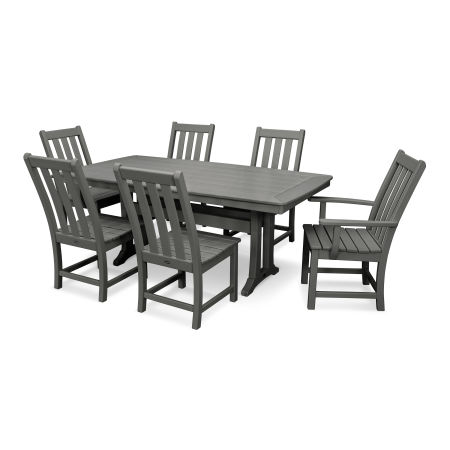Vineyard 7-Piece Nautical Trestle Dining Set