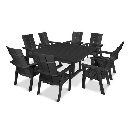 Modern Adirondack 9-Piece Farmhouse Dining Set in Black