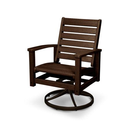 Signature Swivel Rocking Chair in Textured Bronze / Mahogany