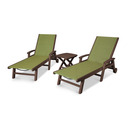 Coastal 3-Piece Wheeled Chaise Set in Mahogany / Kiwi Sling