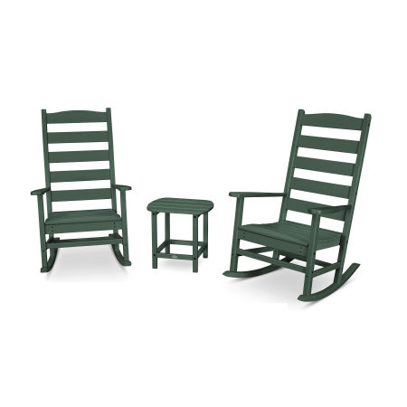 Shaker 3-Piece Porch Rocking Chair Set in Green
