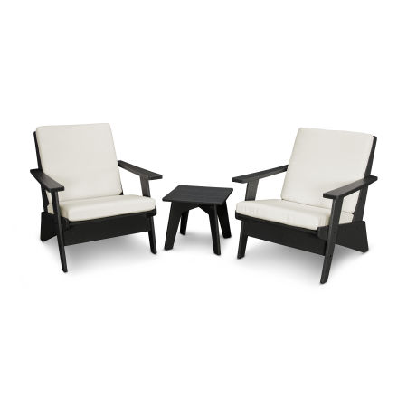 Riviera Modern Lounge 3-Piece Set in Black / Bird's Eye