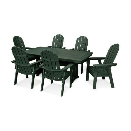 Vineyard Adirondack 7-Piece Nautical Trestle Dining Set in Green