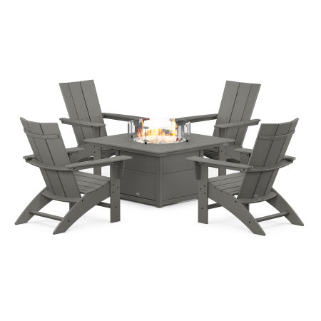 Modern Curveback Adirondack 5-Piece Conversation Set with Fire Pit Table in Slate Grey