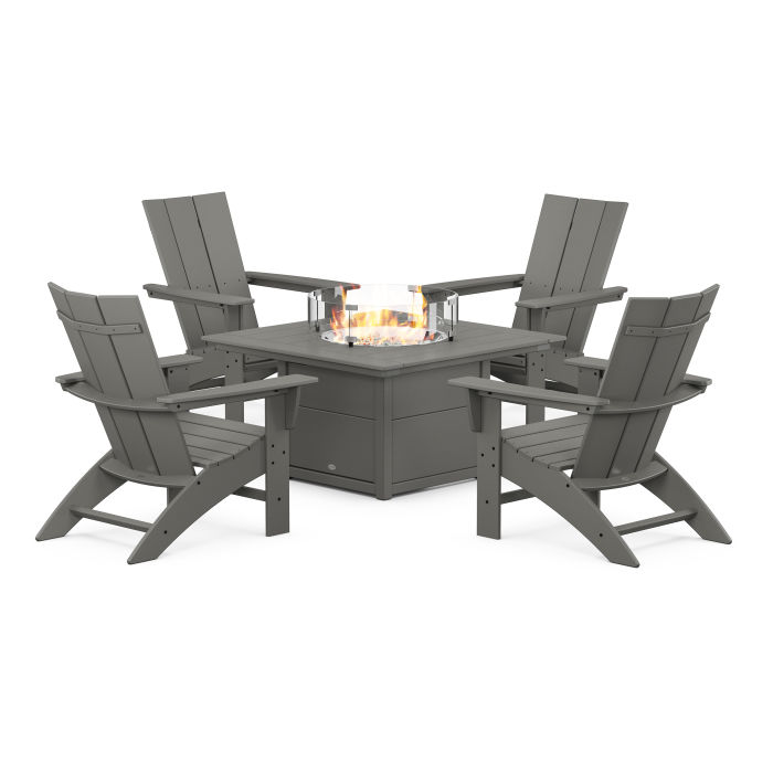 Modern Curveback Adirondack 5-Piece Conversation Set with Fire Pit Table